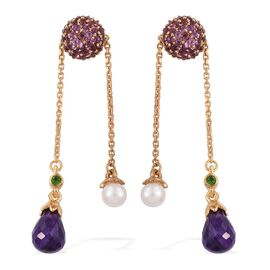 GP Fresh Water Pearl (Rnd), Amethyst, Russian Diopside, Rhodolite Garnet and Kanchanaburi Blue Sapphire Earrings (with Push Back) in 14K Gold Overlay Sterling Silver 14.000 Ct.