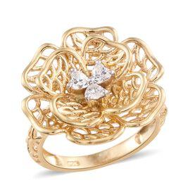 J Francis - 14K Gold Overlay Sterling Silver (Hrt) Flower Ring Made with SWAROVSKI ZIRCONIA