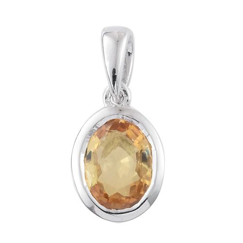 9K White Gold 0.90 Ct AA Yellow Sapphire Solitaire Pendant