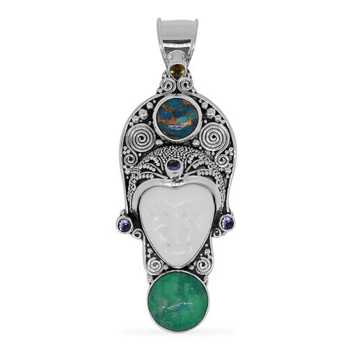 Princess Bali Collection OX Bone Carved Face (Ovl), Green Howlite, Mojave Blue Turquoise, Tanzanite and Yellow Sapphire Pendant in Sterling Silver 19.460 Ct.
