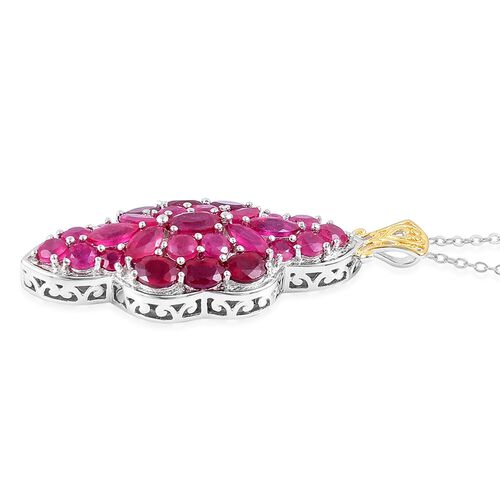 AAA African Ruby (Ovl) Pendant With Chain in Rhodium and Yellow Gold Overlay Sterling Silver 9.070 Ct. Silver wt 7.21 Gms.