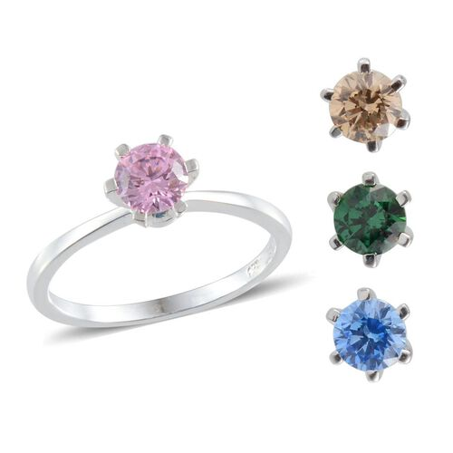 J Francis - Sterling Silver (Rnd) Interchangeable Ring Made with Pink, Blue, Green and Yellow SWAROVSKI ZIRCONIA 3.360 Ct.