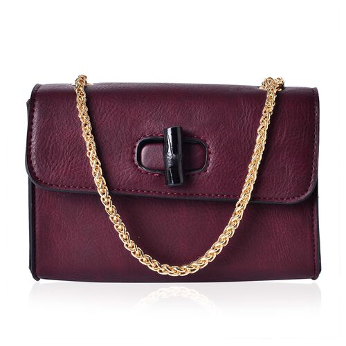 Dark Brown Colour Crossbody Bag with Chain Strap (Size 20x14x8 Cm)