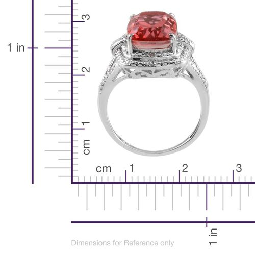 Padparadscha Colour Quartz (Cush 7.75 Ct), Diamond Ring in Platinum Overlay Sterling Silver 7.780 Ct.