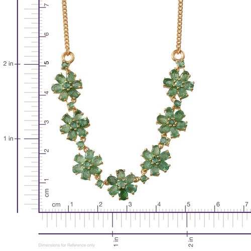 Kagem Zambian Emerald (Ovl) Floral Necklace (Size 18) in 14K Gold Overlay Sterling Silver 7.250 Ct.