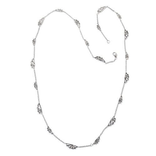 LucyQ Art Deco Necklace (Size 32) in Rhodium Plated Sterling Silver 26.40 Gms.