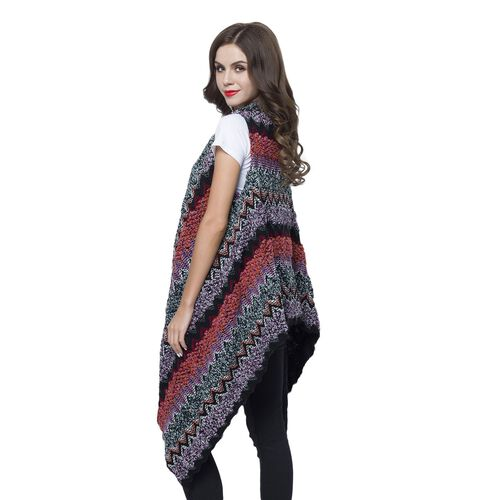 Italian Designer Inspired Black, Purple and Multi Colour Zigzag Pattern Longline Gilet (Free Size)