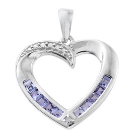 Tanzanite, Diamond 0.51 Ct Silver Heart Pendant in Platinum Overlay