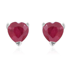 Tucson Collection- Close Out Deal-AAA African Ruby (Hrt) Stud Earrings (with Push Back) in Sterling Silver 1.250 Ct.