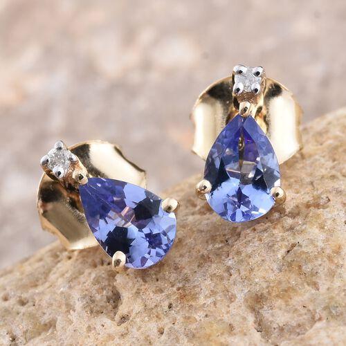 9K Yellow Gold 1 Ct AA Tanzanite Earrings (with Push Back) with Diamond