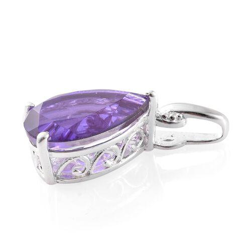 Lavender Alexite Triplet Quartz (Pear) Solitaire Pendant in Sterling Silver 5.750 Ct.