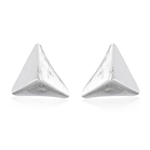 Super Auction-One Time Deal- Designer Inspired Set of 3 Sterling Silver Stud Earrings (with Push Back) Silver Wt 4.10 Gms