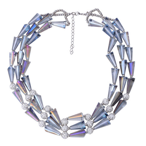 Simulated Multi Colour Diamond and White Austrian Crystal 3 Strand Necklace (Size 18 with 2 inch Extender) in Silver Tone