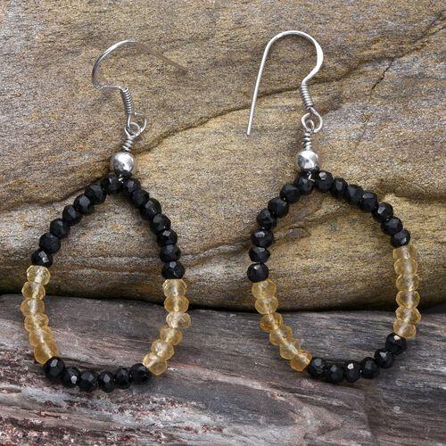 Boi Ploi Black Spinel, Citrine Hook Earrings in Platinum Overlay Sterling Silver 14.360 Ct.