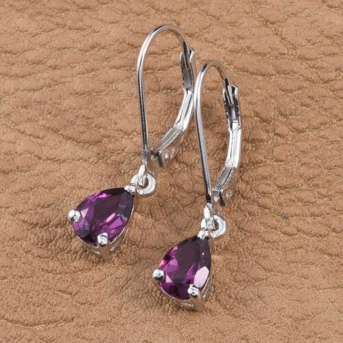 Rare Mozambique Grape Colour Garnet (Pear) Lever Back Earrings in Platinum Overlay Sterling Silver 2.000 Ct.