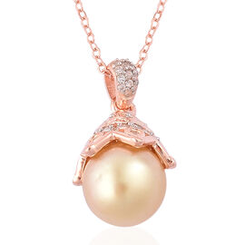 Limited Available- Very Rare South Sea Golden Pearl (Rnd 10-10.5mm), White Topaz Pendant with Chain in Rose Gold Overlay Sterling Silver