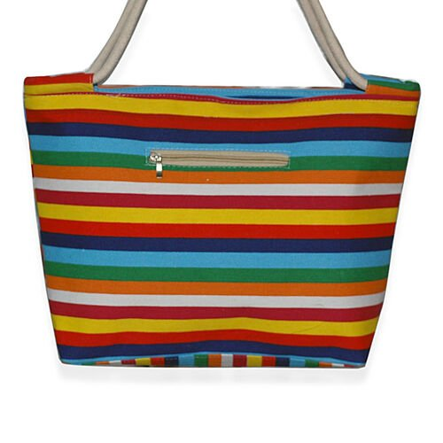 Multi Colour Stripy Beach Bag (Size 29x43)
