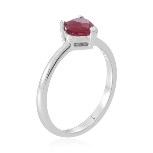 ILIANA 18K W Gold Burmese Ruby (Hrt) Solitaire Ring 1.000 Ct.