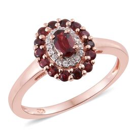 Arizona Anthill Garnet (Ovl), Natural Cambodian Zircon Ring in Rose Gold Overlay Sterling Silver 0.750 Ct.