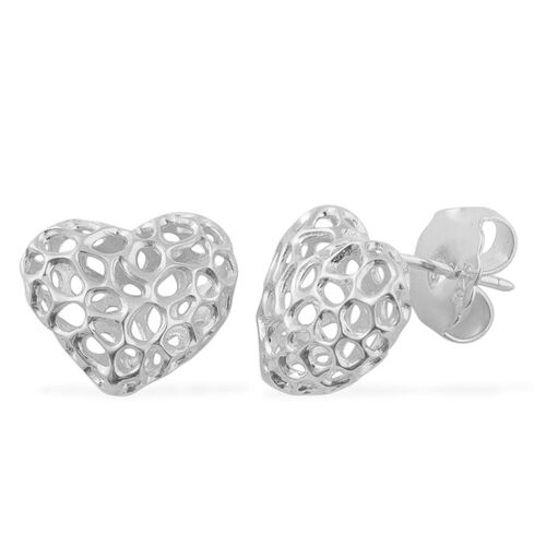 RACHEL GALLEY Rhodium Plated Sterling Silver Amore Heart Stud Earrings (with Push Back), Silver wt 3.10 Gms.