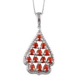 Mediterranean Coral (1.65 Ct) and Diamond Platinum Overlay Sterling Silver Pendant With Chain  1.660  Ct.