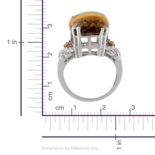 Bumble Bee Jasper (Cush 9.25 Ct), Yellow Sapphire and Diamond Ring in Platinum Overlay Sterling Silver 9.420 Ct.
