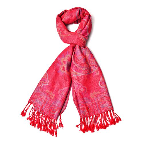 Pink and Multi Colour Paisley Pattern Scarf with Tassels (Size 180X68 Cm)