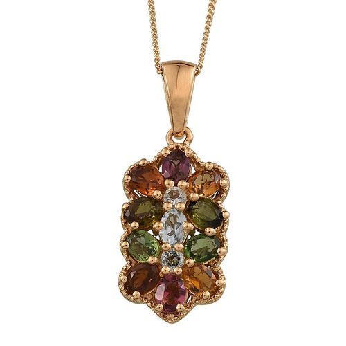 Rainbow Tourmaline (Ovl) Pendant With Chain in 14K Gold Overlay Sterling Silver 1.750 Ct.