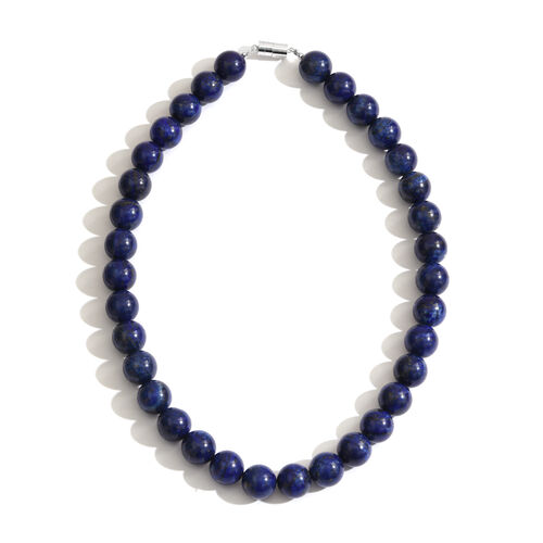 Lapis Lazuli (Rnd) Necklace (Size 18) with Magnetic Clasp in Rhodium Plated Sterling Silver 775.00 Ct.