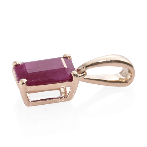 9K Yellow Gold AA Burmese Ruby (Oct) Solitaire Pendant 1.000 Ct.