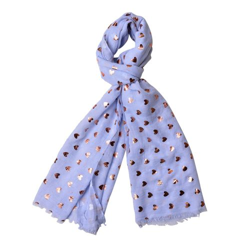 Golden Hearts Pattern Blue Colour Scarf with Fringes (Size 180X70 Cm)
