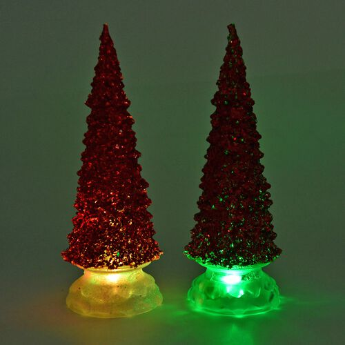 Set of 2 - Sparkle Red Christmas Tree with Colour Changing LED Lights (Size 26 Cm)