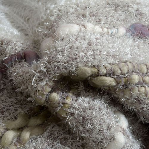 Beige and Chocolate Colour Winter Scarf with Fringes (Size 170x60 Cm)