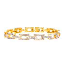 JCK Vegas Collection- Diamond (Rnd) Bracelet (Size 7.5) in Yellow Gold Overlay