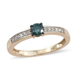 9K Yellow Gold 0.25 Ct Blue and White Diamond I3 Ring