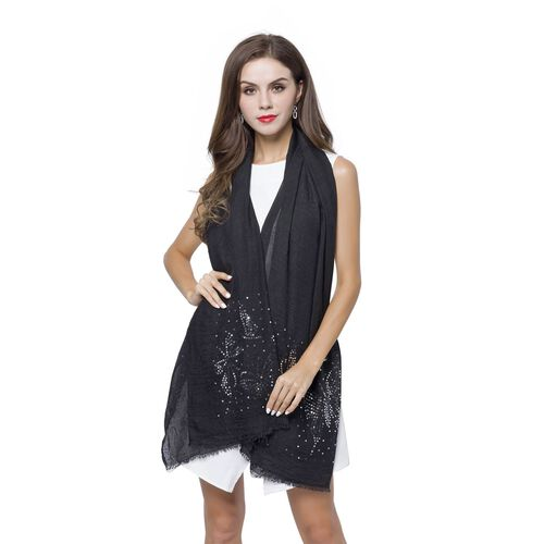 Silver Sequins Embellished Black Colour Butterfly Pattern Scarf with Fringes (Size 180X70 Cm)