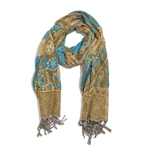 Hand Embroidered - Brown, Blue and Multi Colour Floral Pattern Scarf with Tassels (Size 200X67 Cm)