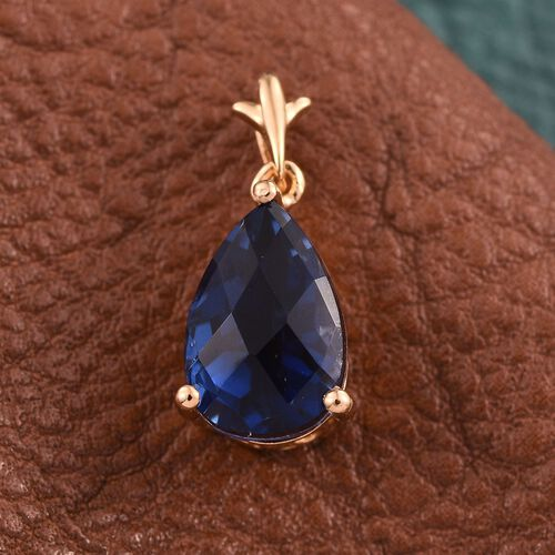 Checkerboard Cut Ceylon Colour Quartz (Pear) Solitaire Pendant in 14K Gold Overlay Sterling Silver 3.500 Ct.