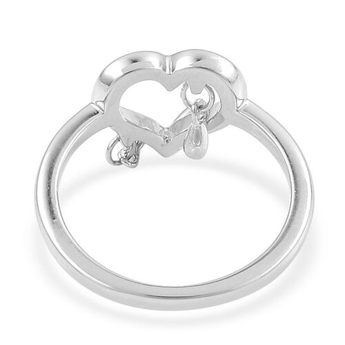 LucyQ Open Melting Heart Ring with 3 Drip in Rhodium Plated Sterling Silver