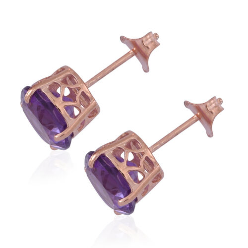 Lusaka Amethyst (Rnd) Stud Earrings (with Push Back) in 14K Rose Gold Overlay Sterling Silver 5.000 Ct.