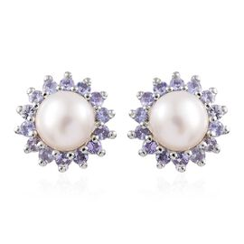 White Pearl and Tanzanite Stud Earrings (with Push Back) in Platinum Overlay Sterling Silver