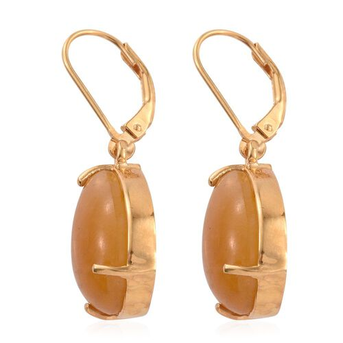 Yellow Jade (Pear) Lever Back Earrings in 14K Gold Overlay Sterling Silver 19.000 Ct.