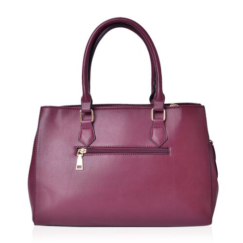 Croc Embossed Burgundy Colour Tote Bag with 2 External Zipper Pockets and Adjustable and Removable Shoulder Strap (Size 34X25X13.5 Cm)