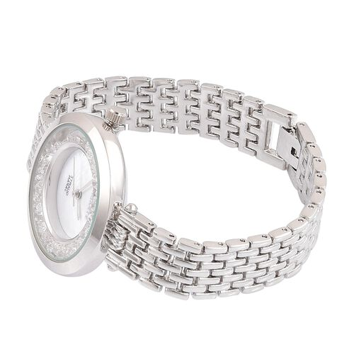STRADA Genuine Mother of Pearl Japanese Movement Watch - Silver Tone