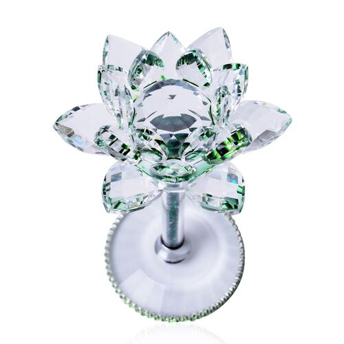 Hand Crafted AAA Green Colour Austrian Crystal Base Lotus Floral with Crystal Base