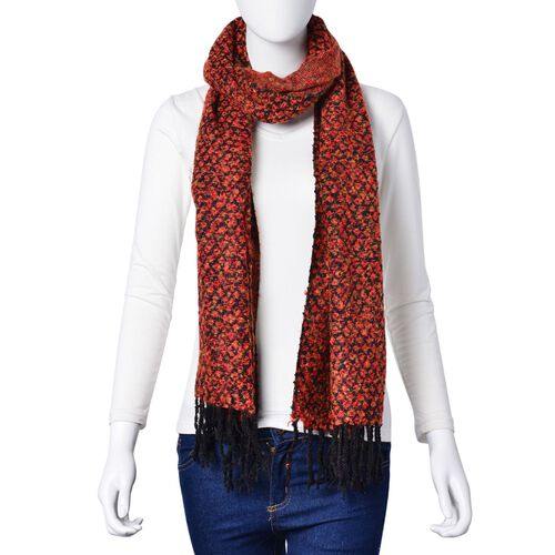 Designer Inspired-Orange and Black Colour Scarf with Tassels (Size 180x60 Cm)