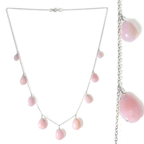 Peruvian Pink Opal (Pear) Necklace (Size 18) in Platinum Overlay Sterling Silver 30.450 Ct.