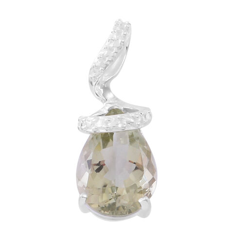 Green Amethyst (Pear) Solitaire Pendant in Sterling Silver 4.500 Ct.