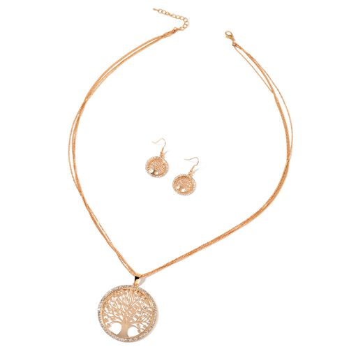 White Austrian Crystal Tree of Life Pendant With Chain (Size 28 with 2 inch Extender) and Hook Earrings in Yellow Gold Tone