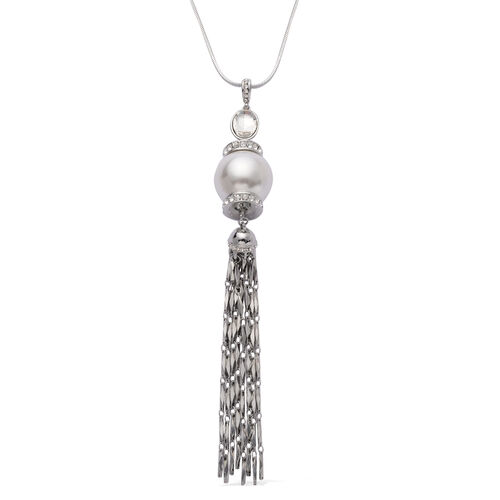 White Glass and White Austrian Crystal Pendant with Chain in Silver Tone with Resin